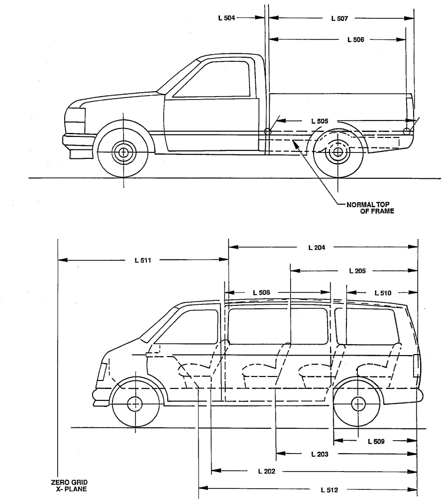 Motor Vehicle Dimensions Auto Chart Automobile Illustration Under The Hood Diagram Car Figure 26truck Cargo Space Length